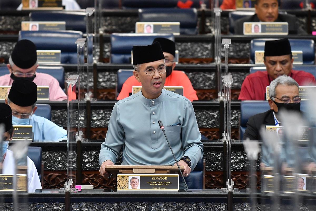 Datuk Seri Tengku Zafrul Tengku Abdul Aziz giving the Budget 2021 speech at Parliament today.