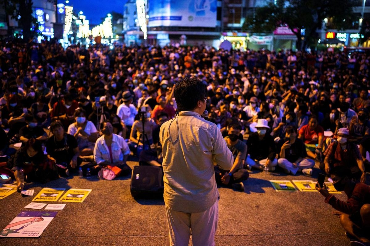 Anon Nampa, one of the leaders of recent anti-government protests, speaks during a demonstration demanding the resignation of Thailand's Prime Minister Prayuth Chan-ocha in Chiang Mai, Thailand, Aug 9, 2020.