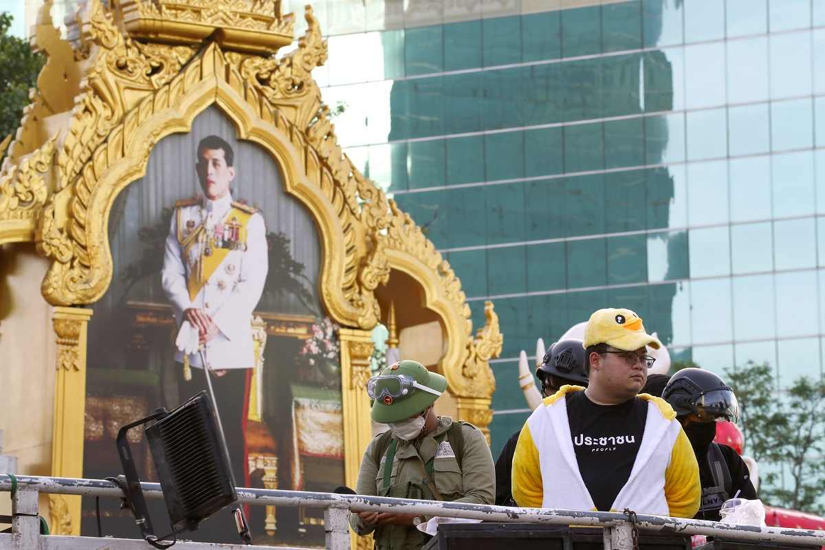 One of the protest leaders Parit 'Penguin' Chiwarak wearing a duck costume attends a rally demanding Thailand's King Maha Vajiralongkorn hands back royal assets to the people and reforms on the monarchy, in Bangkok, Thailand, Nov 25, 2020.