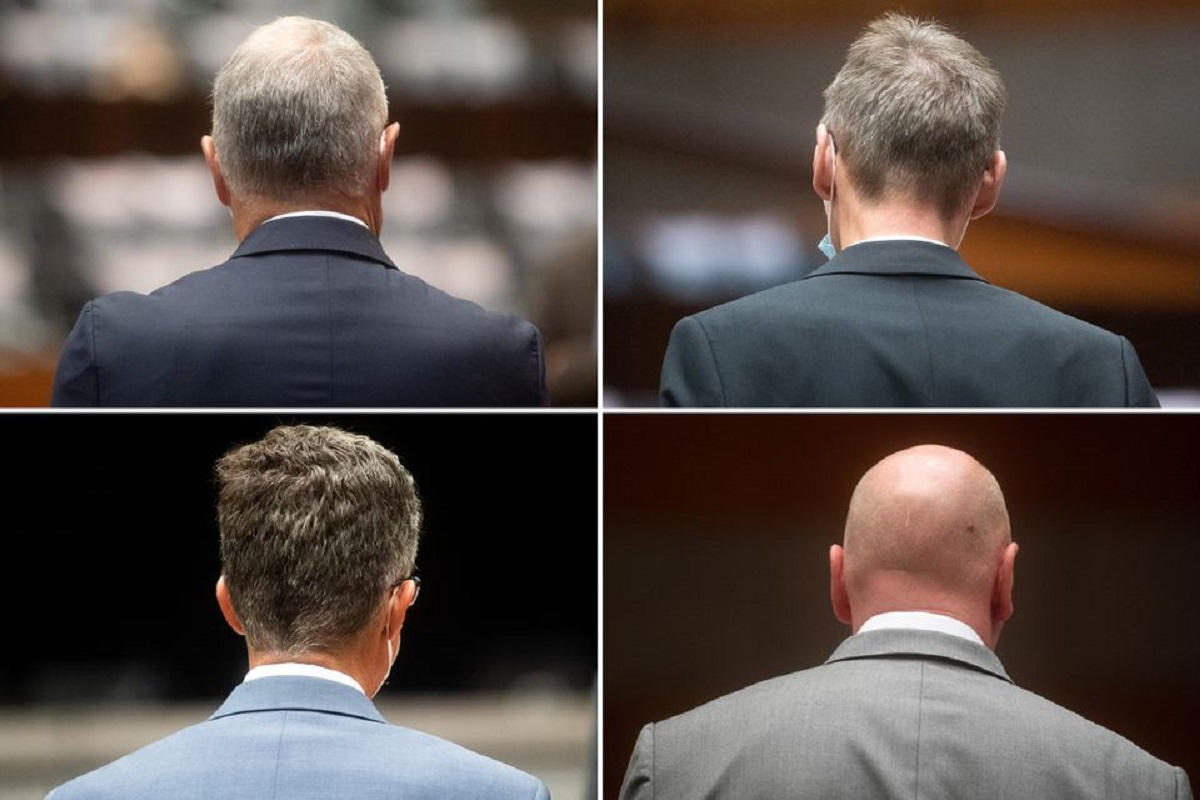 A combination picture shows the four defendants at the start of the trial of former Volkswagen executives charged with misconduct over their role in the carmaker's manipulation of diesel emissions testing, in Brunswick, Germany Sept 16, 2021. (Photo by Pool via Reuters)