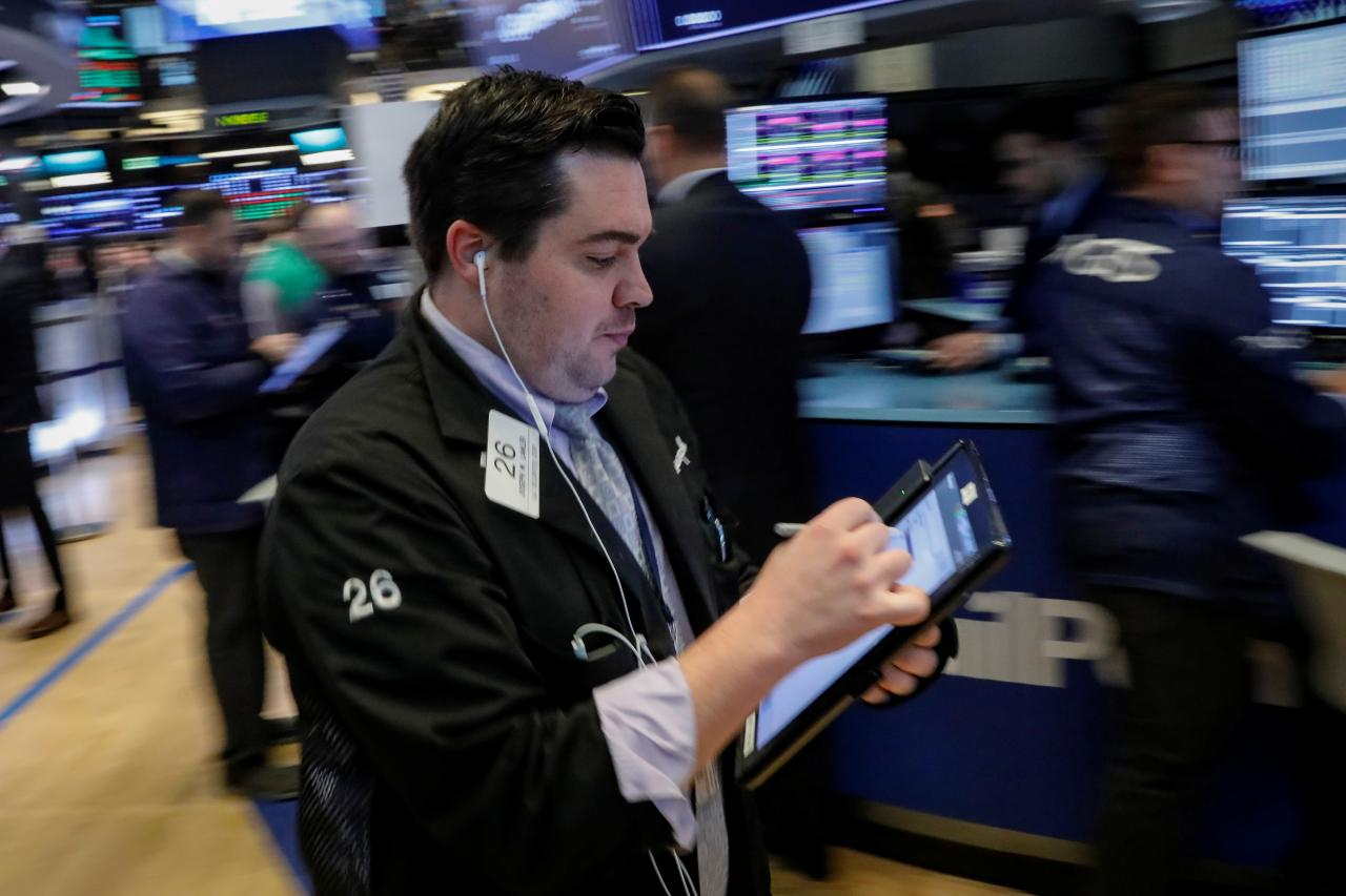 Wall St eases as declines in cyclicals outweigh boost from growth stocks